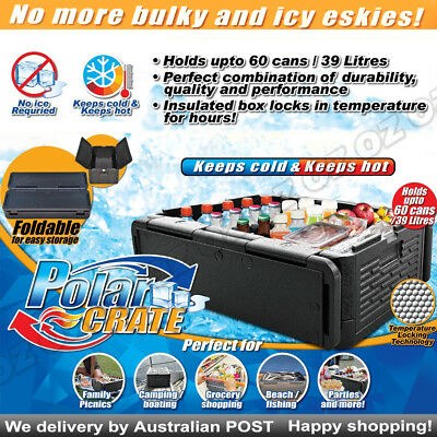 Polar Crate Insulated Collapsible Cooler - KEEPS FOOD CHILL DRINK HOT OR COLD