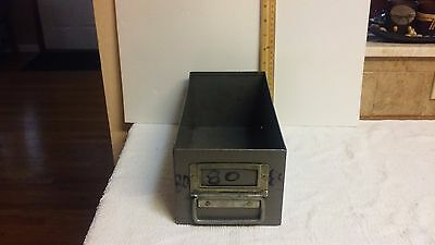 Vintage Green Metal Steel Industrial Parts Bin File Cabinet Drawer Military