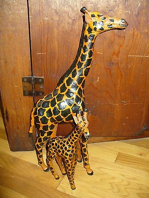 "Vintage  Leather Wrapped ""MOM & BABY GIRAFFES"" Model Figure Sculpture Statue"