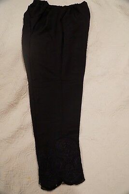 Pencil Pants, Pakistani / Indian Women's Black Raw Silk with Embroidery Size M