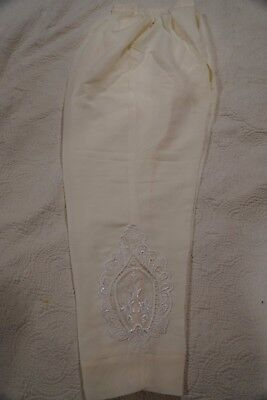 Pakistani / Indian Women's Pants off-white color Art Silk with Embroidery Size M