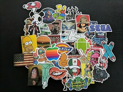 AU Seller Luggage Sticker Random Mixed Pack Car Skateboard Guitar Laptop Decals
