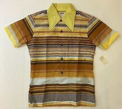 Vintage Boys Multi-Color Stripe Montgomery Ward Stripe Top Shirt Size 14 New
