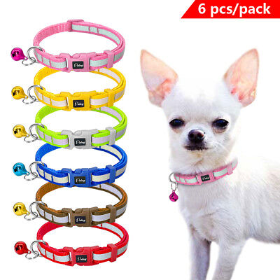 "3/8"" wide Reflective Pet Puppy Cat Kitten Small Dog Collars with Bell 6pcs/pack"