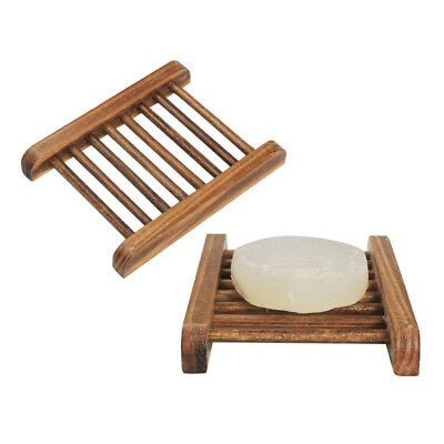 1pc Natural Bamboo Soap Holder Dish Bathroom Shower Plate Stand Storage Wood Box