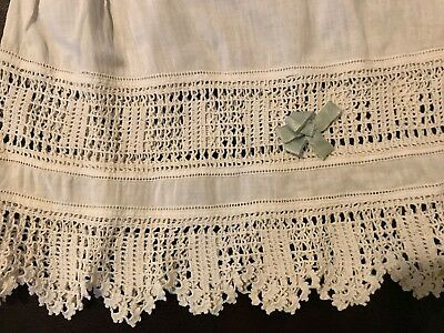 Antique child's slip petticoat crochet hemstitch delicate never worn Approx 21""
