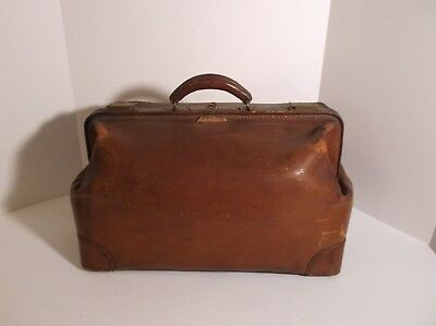 "Antique Leather Doctors Bag, 20"" long, heavy brown cowhide leather"
