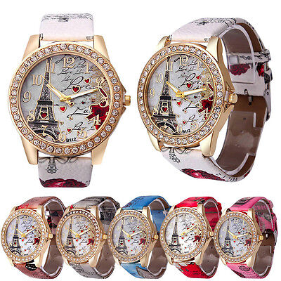 Women's Fashion Leather Band Analog Quartz Round Wrist Watch Watch Bracelet 020Z