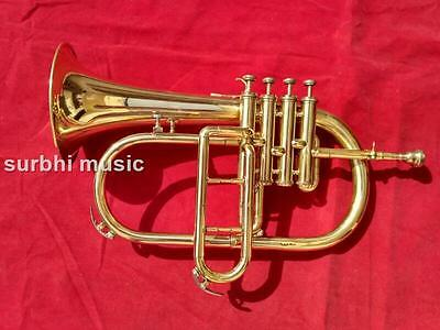 FlugelHorn 4 Valve in Brass Golden Polish With Free Casebox & Mouthpc & Shipping