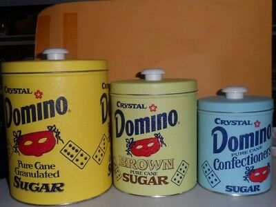 Vintage Crystal Domino Sugar Advertising Tin Canisters 3pc (Hope After Harvey)
