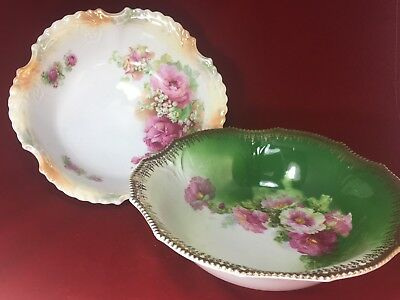 "Lot Of Two  Antique Hand Painted Silesien Germany 10 1/2"" & 9 1/2""  Leaf Bowl"