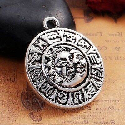 Zodiac Signs 35mm Antiqued Silver Plated Astrology Pendant C4680 - 1, 2 Or 5PCs