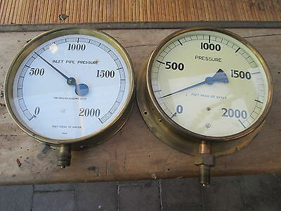 brass maritime gauges 8'' inch diamerter pair of