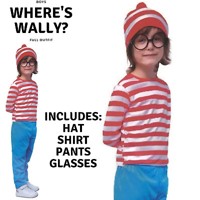 Kids Wheres Wally COSTUME FULL SET Party Hat Shirt Top Pants Boys Book Week