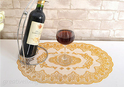 2 Pcs Gilded Table Cloth Heat Insulation Floral Ellipse Placemat table Cover