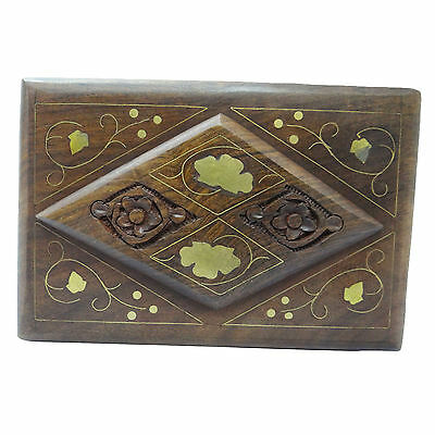 Handmade Small Box Brass Vintage Style Jewelry/ Watch Cases Wood Craft Art India