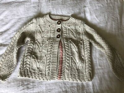 Mini Boden Girls Ecru Cable Cardigan Size 5-6Y