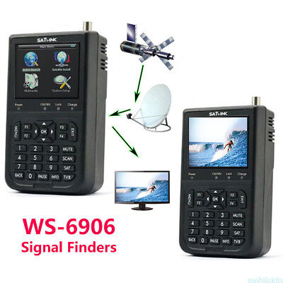 "Satellite Signal Finder Meter SATLINK WS-6906 DVB-S FTA Data Digital 3.5"" LCD"