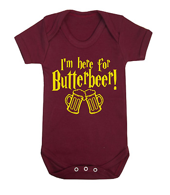 I'm Here for the ButterBeer Harry Potter Inspired Baby Vest Babygrow Baby Shower