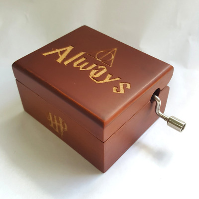 Music Box Harry Potter Hedwig's Theme Engraved Always HP Red Hand Crank Movement