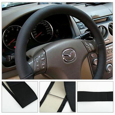 DIY Black Leather Car Auto Steering Wheel Cover With Needles and Thread New RF