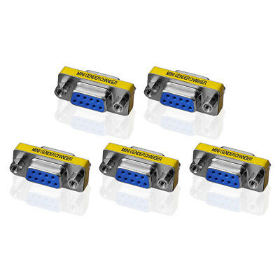 5 x Gender Changer 9 pol Buchse Seriell Adapter RS232 Buchse Com D-Sub DB9