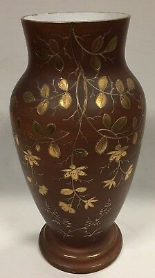 Large Victorian Antique Hand Painted Floral Gilt on Brown Ground Vase C1880's