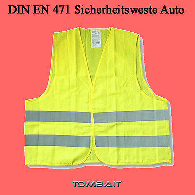 High Visibility Vest Yellow Safety Breakdown Accident One Size Fits All Din En