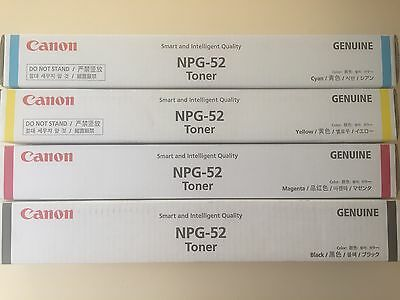 New Genuine Canon NPG52, TG52 Toners, Black, Cyan, Magenta & Yellow (Full set)