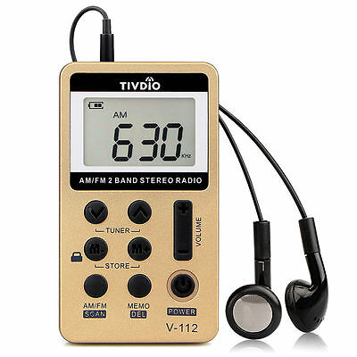 Pocket AM/FM Radio Digital Tuning Receiver with Rechargeable Battery&Earphone AU