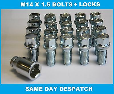 M14X1.5 Radius Alloy Wheel Bolts & Locking Bolts Fit Citroen C8 Synergie