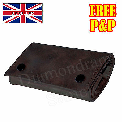 Brown PU Leather Cigarette Tobacco Pouch Bag Case Roller Filter Rolling Paper UK