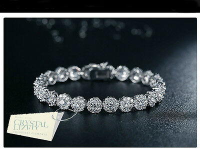 18K White Gold Filled Made With Swarovski Element Classic Silver Tennis Bracelet