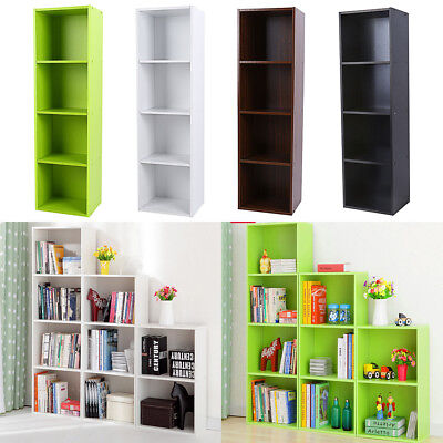 3/4 Shelf Bookcase Storage Bookshelf Wood Furniture Adjustable Book Shelving