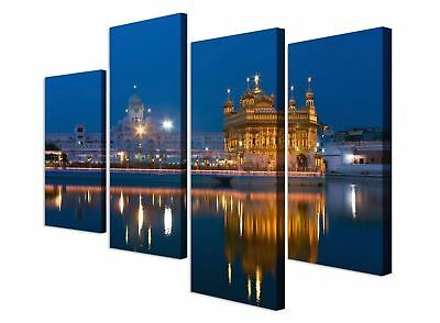 Large Sikh Golden Temple at Night in Blue Canvas Art - Set of 4 Print RRP £29.99