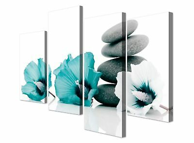 Large Teal White Flowers Zen Pebbles Stones Canvas Pictures - Set of 4 Prints