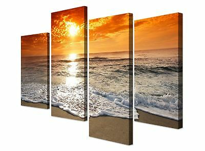 Large Orange Beach Sunset Landscape Canvas Wall Art - Set of 4 Prints RRP £29.99
