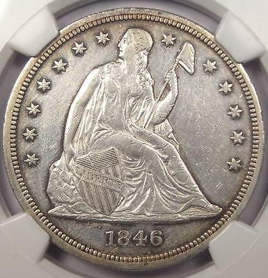 1846 Seated Liberty Silver Dollar $1 - NGC AU Details - Rare Early Date Coin!
