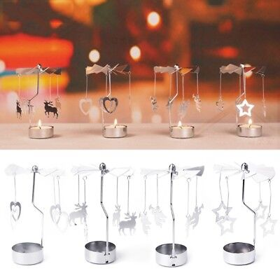 Spinning Rotary Metal Carousel Tea Light Candle Holder Stand Light Xmas Gift New