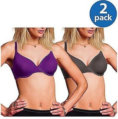 79c1da6c798d6 Maidenform Twin Pack 08065 (Purple and Mocha) Full Figure Underwire T-Shirt  Bra