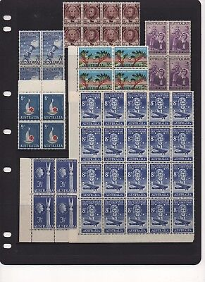 AU - PRE-Decimal Stamps - MINT blocks including a block of 20