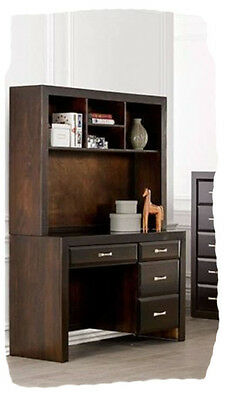 Finch 4 Drawer Chocolate Hardwood Timber Desk & Hutch - Assembled - BRAND NEW