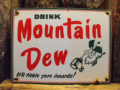 "Vintage MOUNTAIN DEW Soda Porcelain Sign ""It'll Tickle Your Inards!"" Near MINT!"