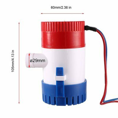 "25D 500 GPH 12V 2.0A Submersible Marine Boat Electric Bilge Pump 3/4"" Outlet GT"