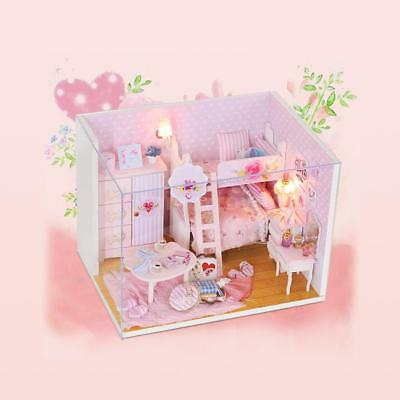 DIY House Miniature Kit Dollhouse Room with Furniture LED for Kids Gift X3A0