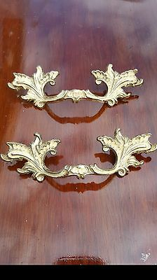 A pair of reclaimed gold & cream french style alloy pull handles 130 mm wide