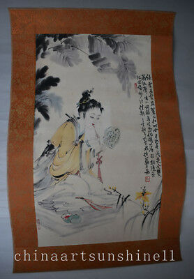 Exquisite Chinese Old Paper Collection Handmade Painted Belle Statue
