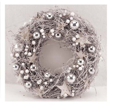"Deluxe 12"" Silver Star and Bauble Wreath, xmas wreath"