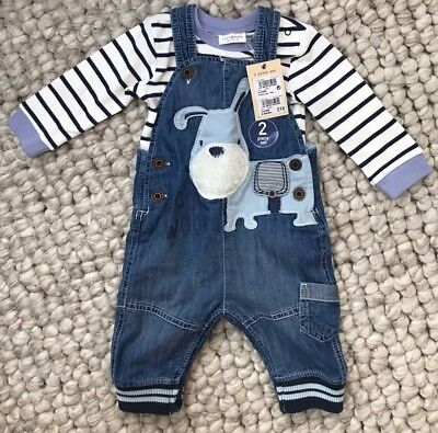 BNWT Next baby boy outfit dungarees 3-6 months