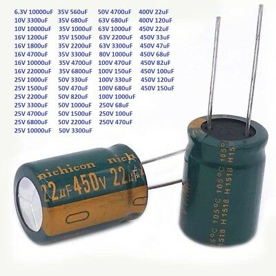 6.3V-450V High Frequency Radial Electrolytic Capacitor LOW ESR 22uF-22000uF 105C